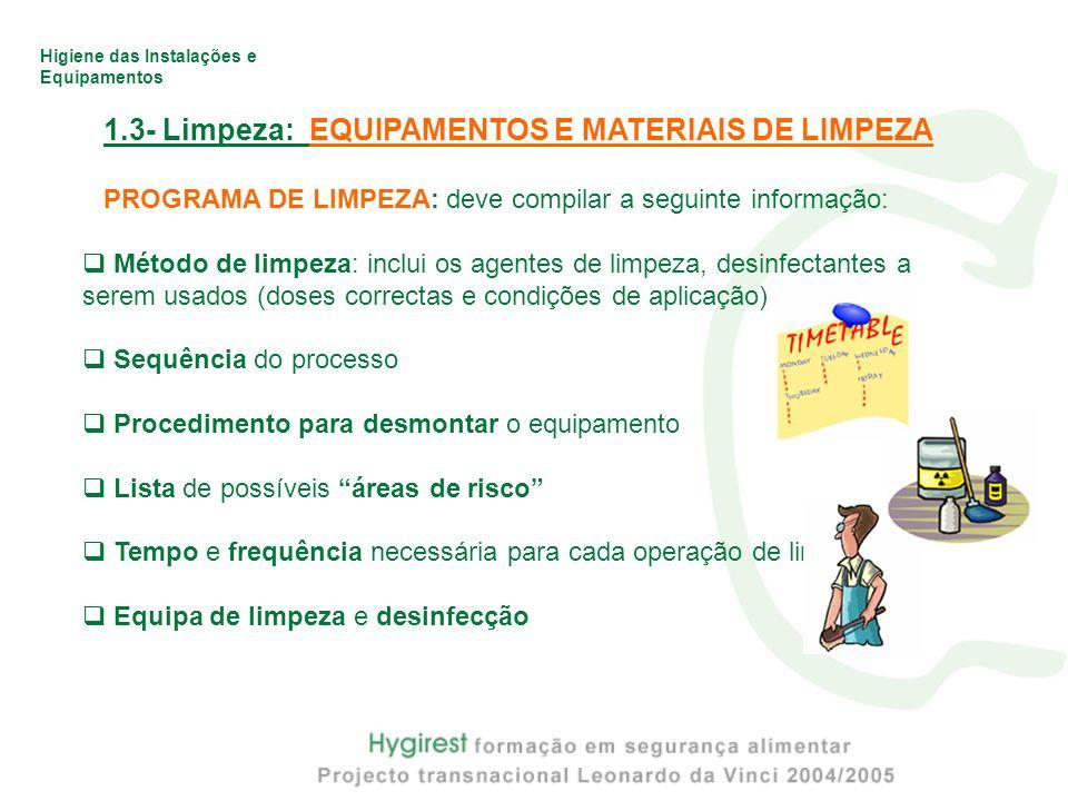 Higiene das Instalações e Equipamentos 1.3- Limpeza: EQUIPAMENTOS E MATERIAIS DE LIMPEZA PROGRAMA DE LIMPEZA: deve compilar a seguinte informação: Mét