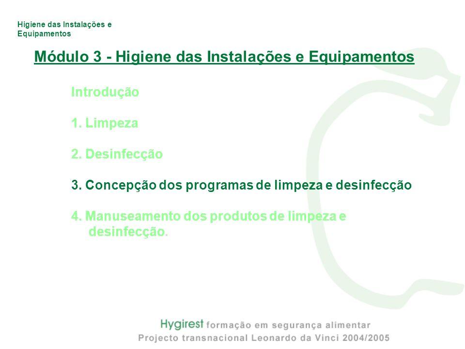 Higiene das Instalações e Equipamentos Módulo 3 - Higiene das Instalações e Equipamentos Introdução 1. Limpeza 2. Desinfecção 3. Concepção dos program