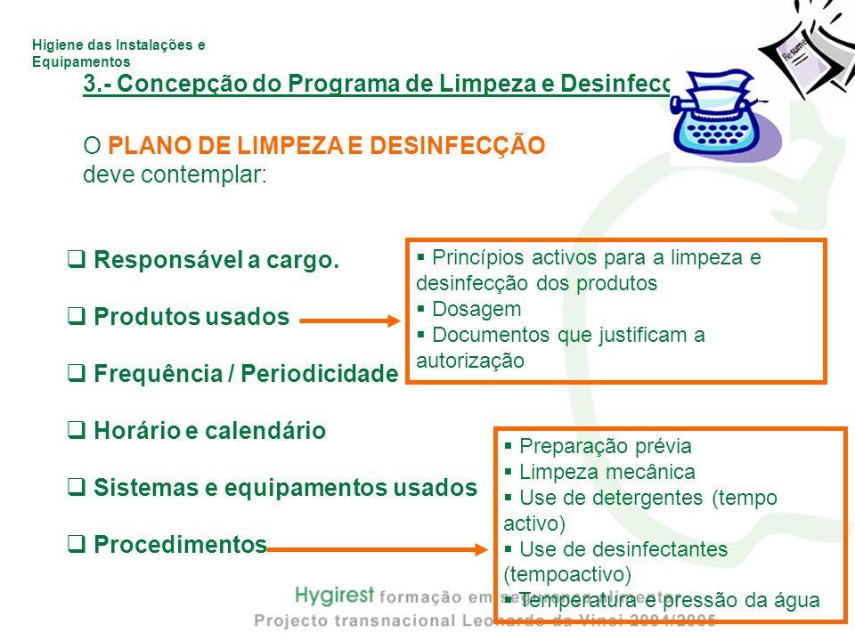 Higiene das Instalações e Equipamentos 3.- Concepção do Programa de Limpeza e Desinfecção O PLANO DE LIMPEZA E DESINFECÇÃO deve contemplar: Responsáve