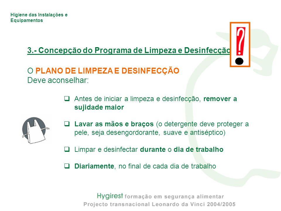 Higiene das Instalações e Equipamentos 3.- Concepção do Programa de Limpeza e Desinfecção O PLANO DE LIMPEZA E DESINFECÇÃO Deve aconselhar: Antes de i