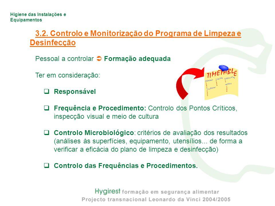 Higiene das Instalações e Equipamentos 3.2. Controlo e Monitorização do Programa de Limpeza e Desinfecção Pessoal a controlar Formação adequada Ter em