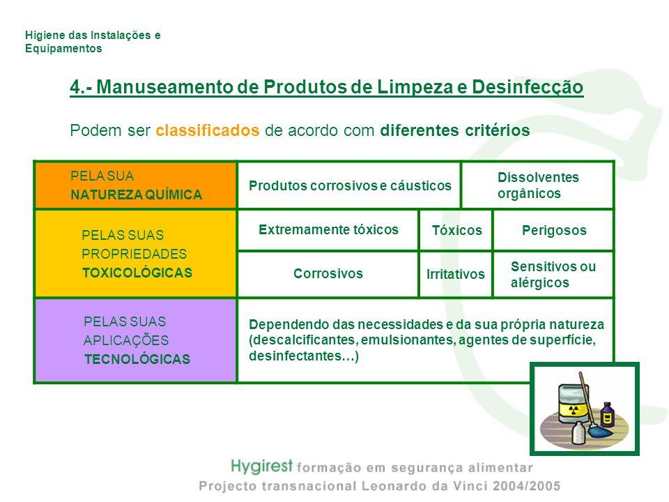 Higiene das Instalações e Equipamentos 4.- Manuseamento de Produtos de Limpeza e Desinfecção Podem ser classificados de acordo com diferentes critério