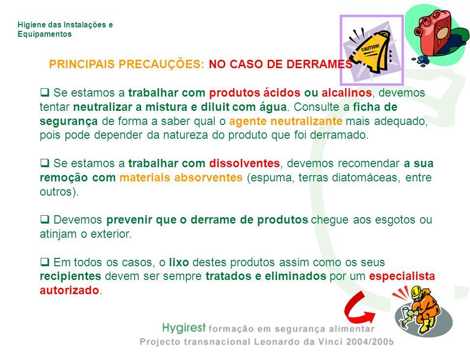 Higiene das Instalações e Equipamentos PRINCIPAIS PRECAUÇÕES: NO CASO DE DERRAMES Se estamos a trabalhar com produtos ácidos ou alcalinos, devemos ten