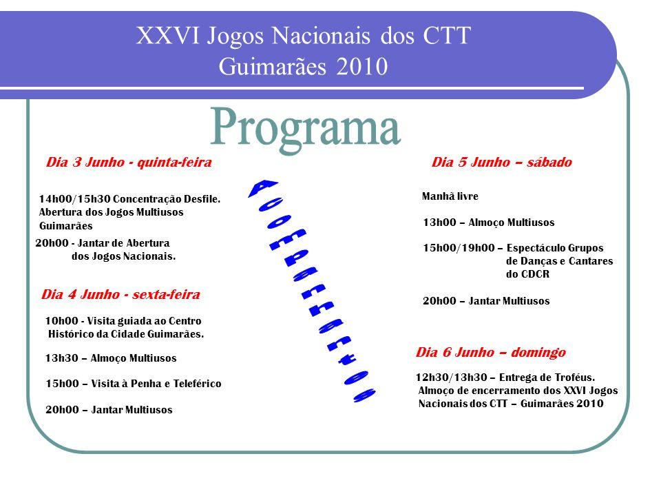 XXVI Jogos Nacionais dos CTT Guimarães 2010 Dia 3 Junho - quinta-feira 14h00/15h30 Concentração Desfile. Abertura dos Jogos Multiusos Guimarães Dia 4