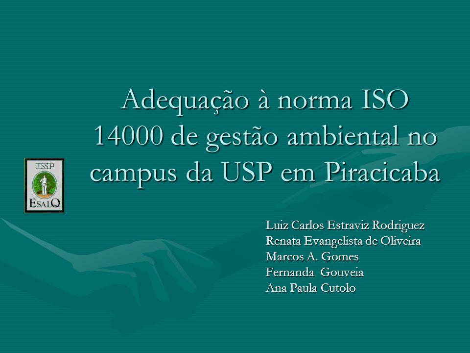 Adequação à norma ISO 14000 de gestão ambiental no campus da USP em Piracicaba Luiz Carlos Estraviz Rodriguez Renata Evangelista de Oliveira Marcos A.