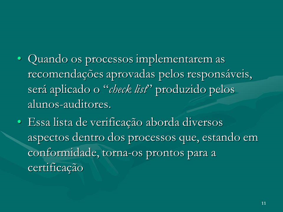 11 Quando os processos implementarem as recomendações aprovadas pelos responsáveis, será aplicado o check list produzido pelos alunos-auditores.Quando