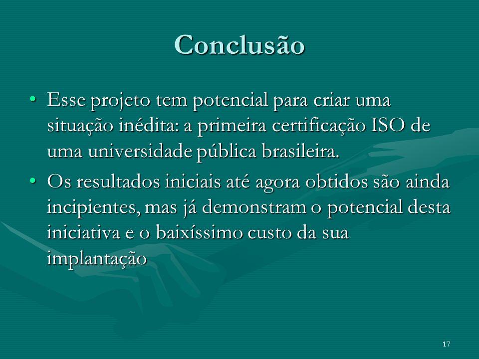 17 Conclusão Esse projeto tem potencial para criar uma situação inédita: a primeira certificação ISO de uma universidade pública brasileira.Esse proje