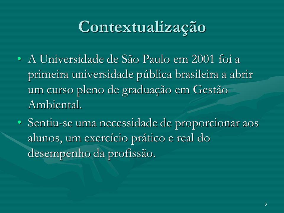 3 Contextualização A Universidade de São Paulo em 2001 foi a primeira universidade pública brasileira a abrir um curso pleno de graduação em Gestão Am