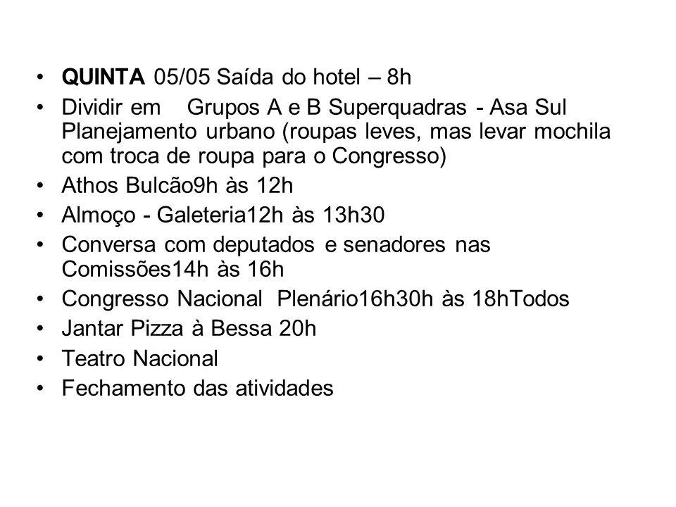 QUINTA 05/05 Saída do hotel – 8h Dividir em Grupos A e B Superquadras - Asa Sul Planejamento urbano (roupas leves, mas levar mochila com troca de roup