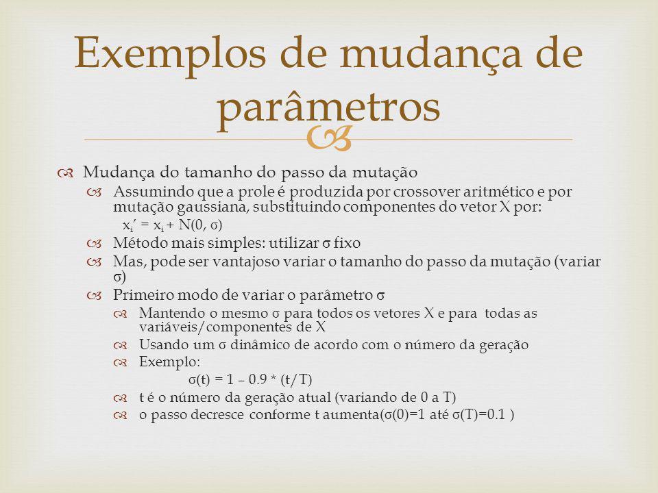Mudança do tamanho do passo da mutação Assumindo que a prole é produzida por crossover aritmético e por mutação gaussiana, substituindo componentes do
