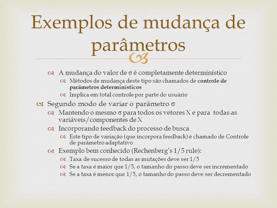 A mudança do valor de σ é completamente determinístico Métodos de mudança deste tipo são chamados de controle de parâmetros determinísticos Implica em