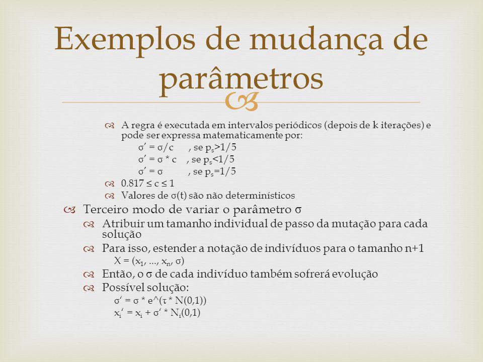 A regra é executada em intervalos periódicos (depois de k iterações) e pode ser expressa matematicamente por: σ = σ /c, se p s >1/5 σ = σ * c, se p s