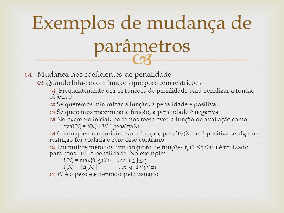 Mudança nos coeficientes de penalidade Quando lida-se com funções que possuem restrições Frequentemente usa-se funções de penalidade para penalizar a