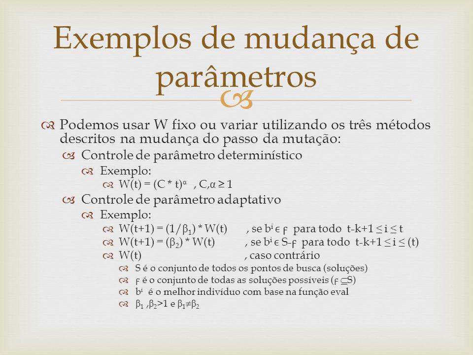 Podemos usar W fixo ou variar utilizando os três métodos descritos na mudança do passo da mutação: Controle de parâmetro determinístico Exemplo: W(t)