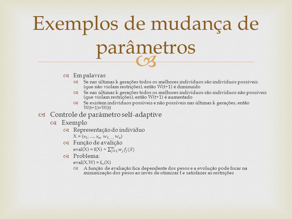 Exemplos de mudança de parâmetros