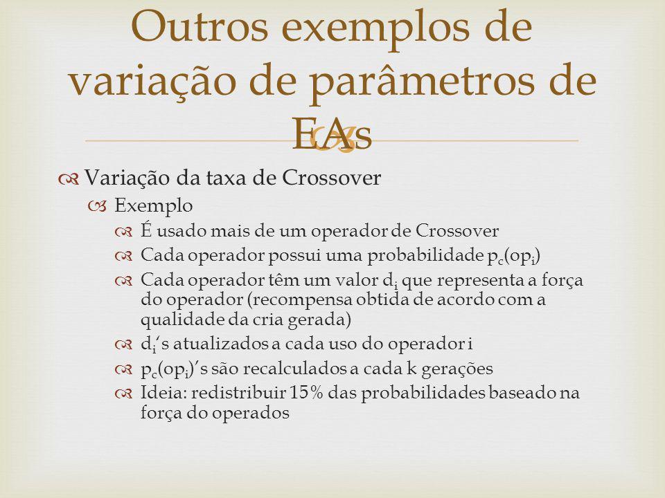 Variação da taxa de Crossover Exemplo É usado mais de um operador de Crossover Cada operador possui uma probabilidade p c (op i ) Cada operador têm um