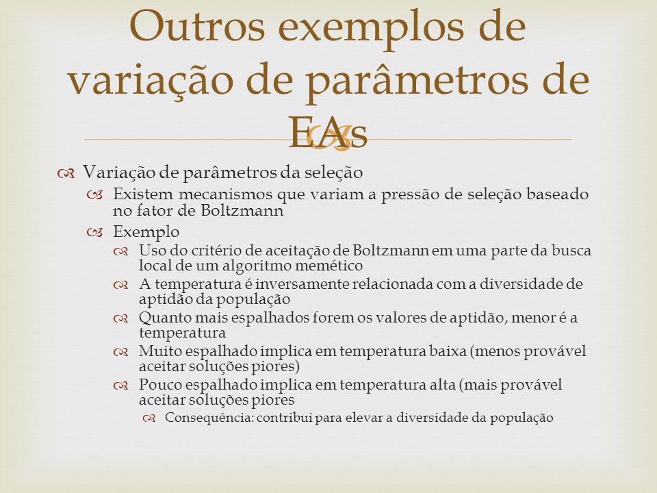 Variação de parâmetros da seleção Existem mecanismos que variam a pressão de seleção baseado no fator de Boltzmann Exemplo Uso do critério de aceitaçã