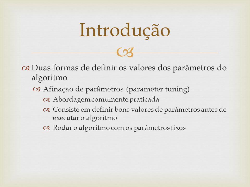 Controle de parâmetros (parameter control) Rodar o algoritmo com parâmetros iniciais Parâmetros são modificados no decorrer da execução do algoritmo Introdução