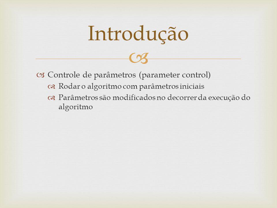 Controle de parâmetros (parameter control) Rodar o algoritmo com parâmetros iniciais Parâmetros são modificados no decorrer da execução do algoritmo I