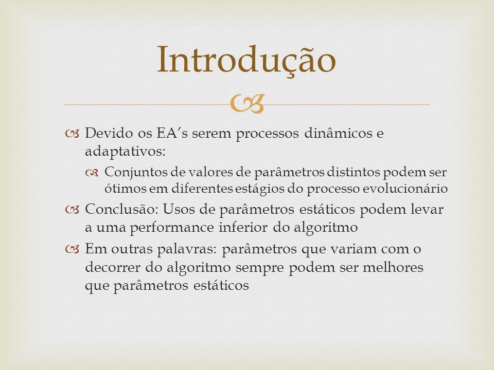 Solução: Definir os parâmetros como funções do tempo (p => p(t)) Problema: como o processo para definir parâmetros estáticos já é complexo, definir parâmetros dinâmicos é ainda mais Outra abordagem: Utilizar um EA para afinar os parâmetros do EA que tenta resolver um problema particular Duas maneiras Utilizar dois EAs, onde um deles (META-EA) é utilizado para afinar os parâmetros do outro Utilizar apenas um EA, o qual afina os próprios parâmetros e resolve o problema Introdução