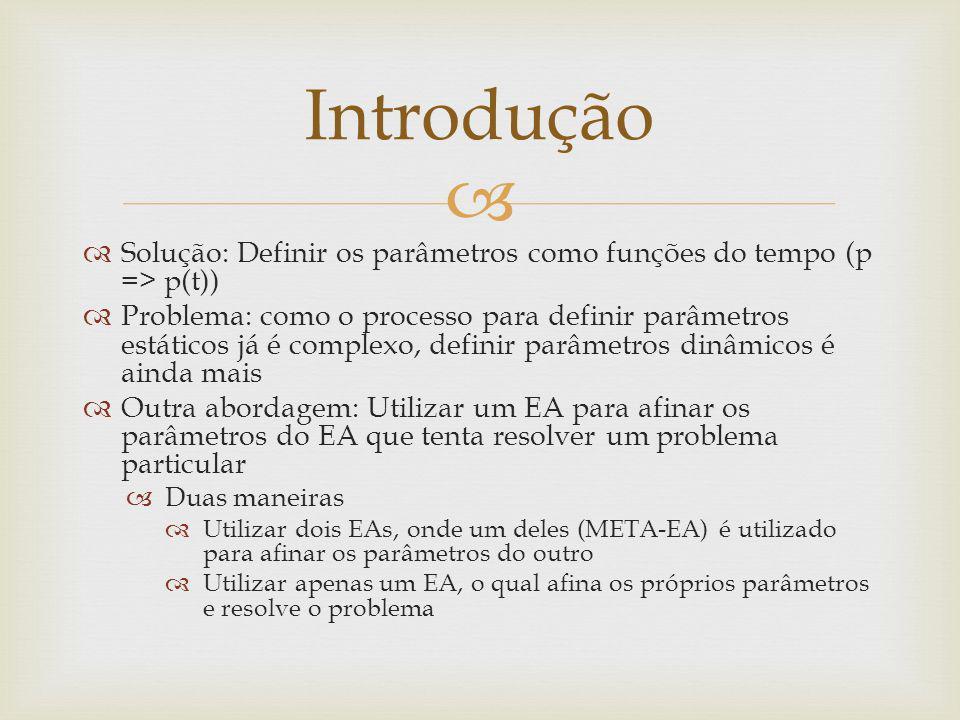 Solução: Definir os parâmetros como funções do tempo (p => p(t)) Problema: como o processo para definir parâmetros estáticos já é complexo, definir pa