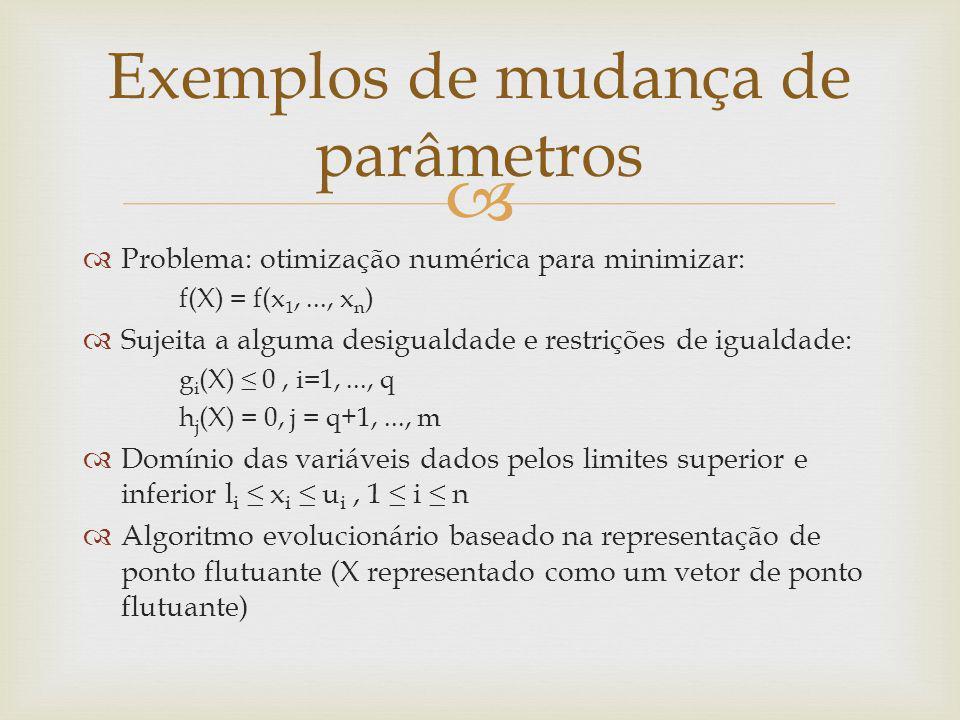 Mudança do tamanho do passo da mutação Assumindo que a prole é produzida por crossover aritmético e por mutação gaussiana, substituindo componentes do vetor X por: x i = x i + N(0, σ ) Método mais simples: utilizar σ fixo Mas, pode ser vantajoso variar o tamanho do passo da mutação (variar σ ) Primeiro modo de variar o parâmetro σ Mantendo o mesmo σ para todos os vetores X e para todas as variáveis/componentes de X Usando um σ dinâmico de acordo com o número da geração Exemplo: σ (t) = 1 – 0.9 * (t/T) t é o número da geração atual (variando de 0 a T) o passo decresce conforme t aumenta( σ (0)=1 até σ (T)=0.1 ) Exemplos de mudança de parâmetros