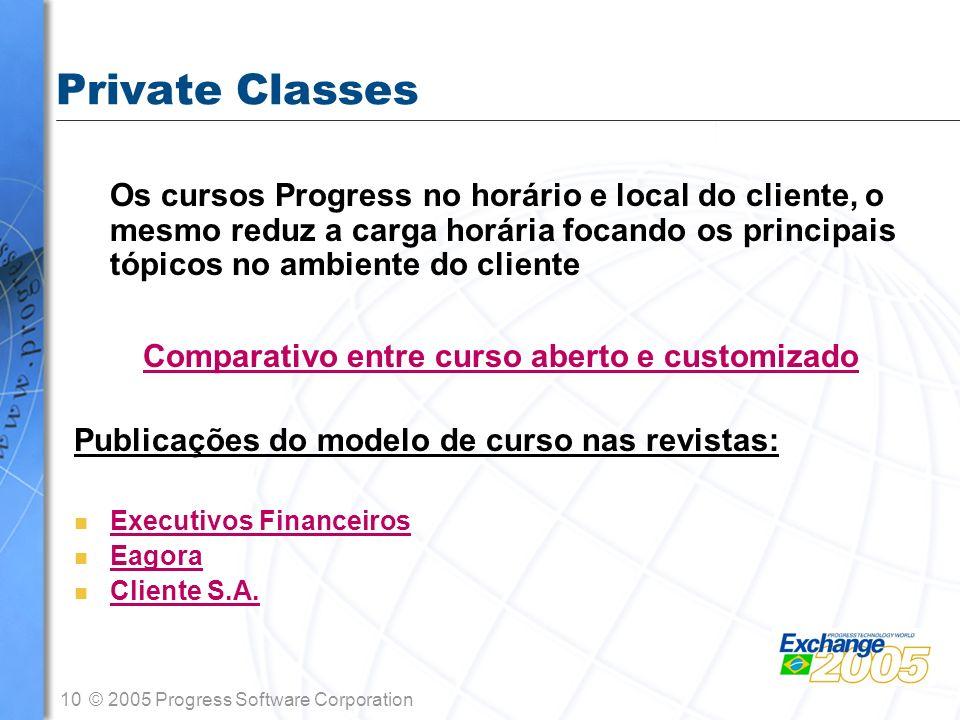10© 2005 Progress Software Corporation Private Classes Os cursos Progress no horário e local do cliente, o mesmo reduz a carga horária focando os prin