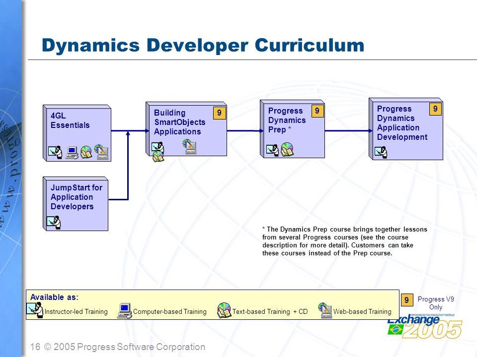 16© 2005 Progress Software Corporation Building SmartObjects Applications Dynamics Developer Curriculum 4GL Essentials Progress Dynamics Prep * Progre