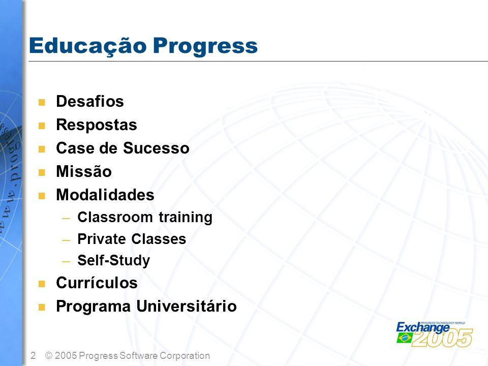 2© 2005 Progress Software Corporation Educação Progress n Desafios n Respostas n Case de Sucesso n Missão n Modalidades –Classroom training –Private C