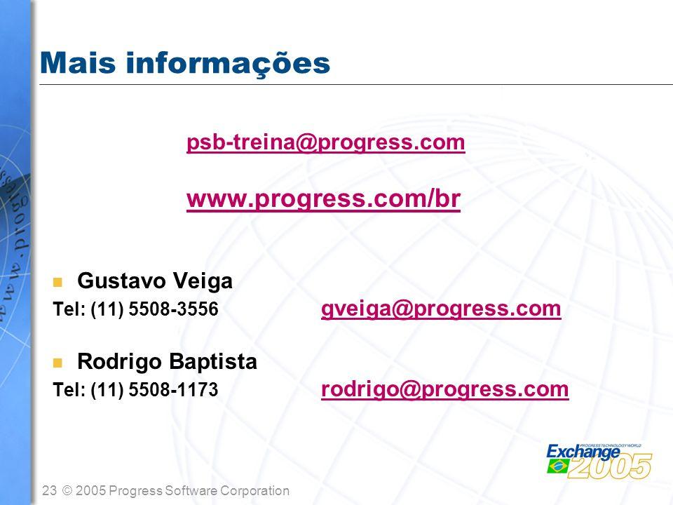 23© 2005 Progress Software Corporation Mais informações psb-treina@progress.com www.progress.com/br n Gustavo Veiga Tel: (11) 5508-3556 gveiga@progres