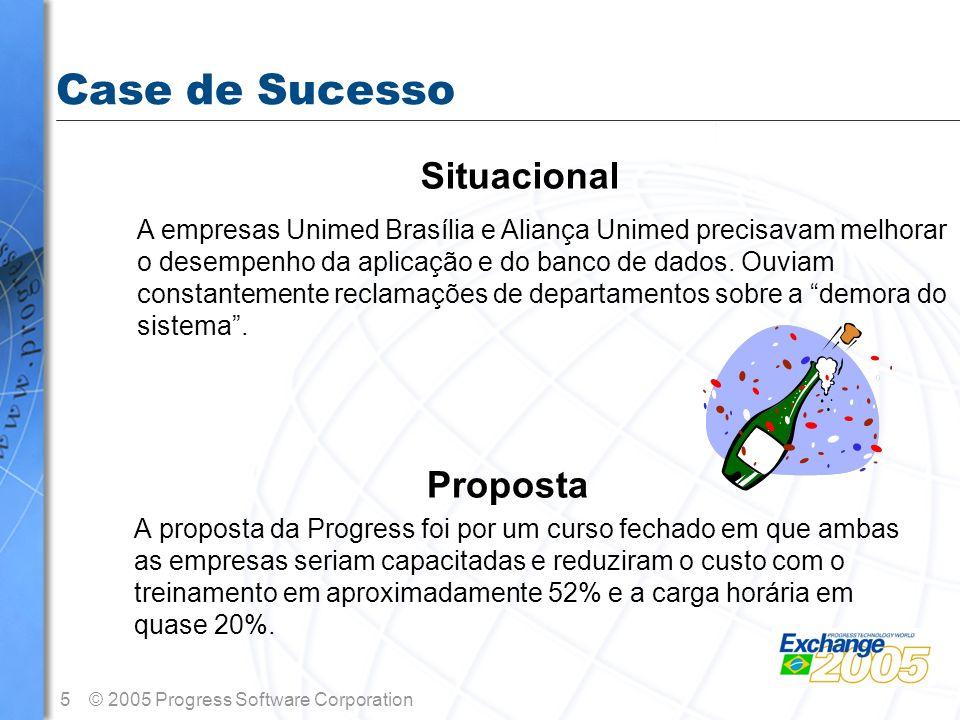 5© 2005 Progress Software Corporation Case de Sucesso Proposta A proposta da Progress foi por um curso fechado em que ambas as empresas seriam capacit
