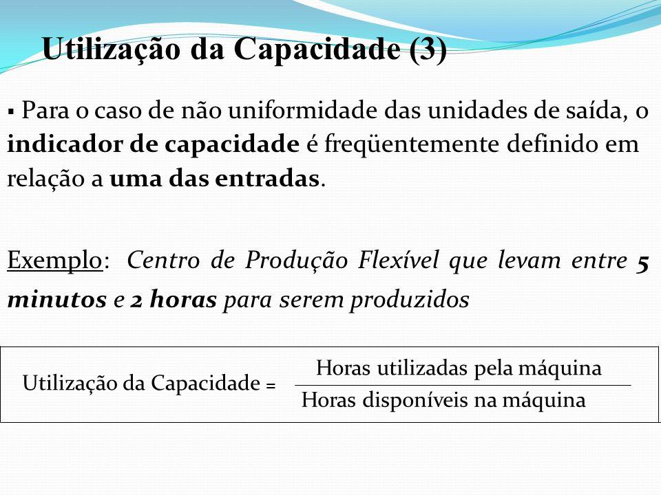 Para o caso de não uniformidade das unidades de saída, o indicador de capacidade é freqüentemente definido em relação a uma das entradas. Exemplo: Cen