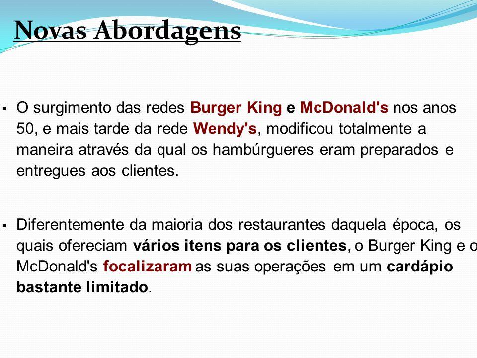 O surgimento das redes Burger King e McDonald's nos anos 50, e mais tarde da rede Wendy's, modificou totalmente a maneira através da qual os hambúrgue