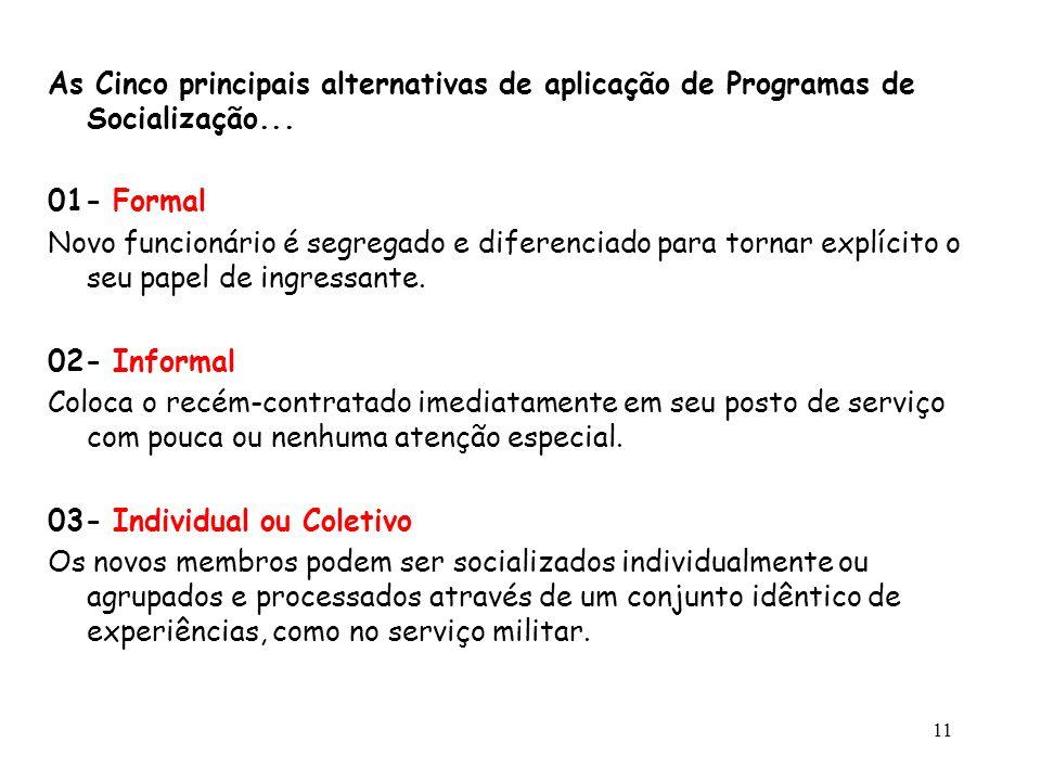 11 As Cinco principais alternativas de aplicação de Programas de Socialização... 01- Formal Novo funcionário é segregado e diferenciado para tornar ex