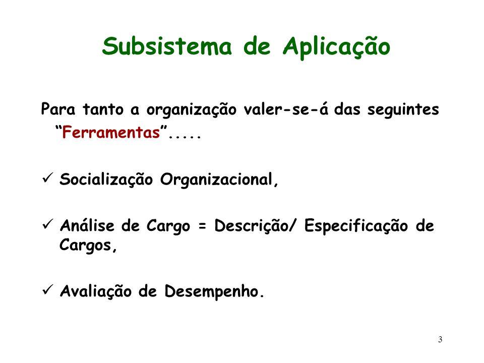 3 Subsistema de Aplicação Para tanto a organização valer-se-á das seguintes Ferramentas..... Socialização Organizacional, Análise de Cargo = Descrição