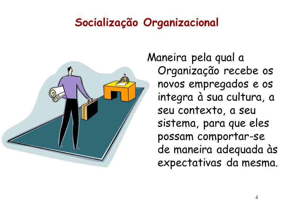 4 Socialização Organizacional Maneira pela qual a Organização recebe os novos empregados e os integra à sua cultura, a seu contexto, a seu sistema, pa