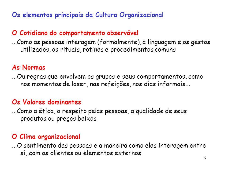 6 Os elementos principais da Cultura Organizacional O Cotidiano do comportamento observável...Como as pessoas interagem (formalmente), a linguagem e o