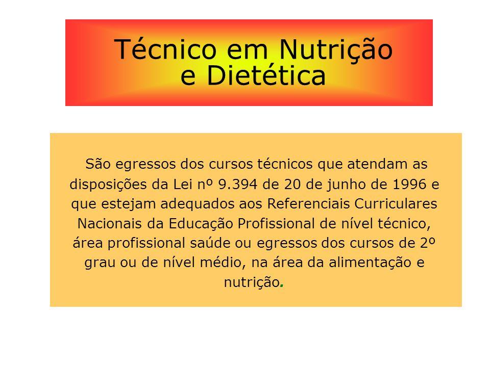 São egressos dos cursos técnicos que atendam as disposições da Lei nº 9.394 de 20 de junho de 1996 e que estejam adequados aos Referenciais Curricular