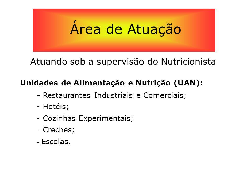 Atuando sob a supervisão do Nutricionista Unidades de Alimentação e Nutrição (UAN): - Restaurantes Industriais e Comerciais; - Hotéis; - Cozinhas Expe