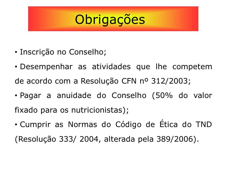 Inscrição no Conselho; Desempenhar as atividades que lhe competem de acordo com a Resolução CFN nº 312/2003; Pagar a anuidade do Conselho (50% do valo