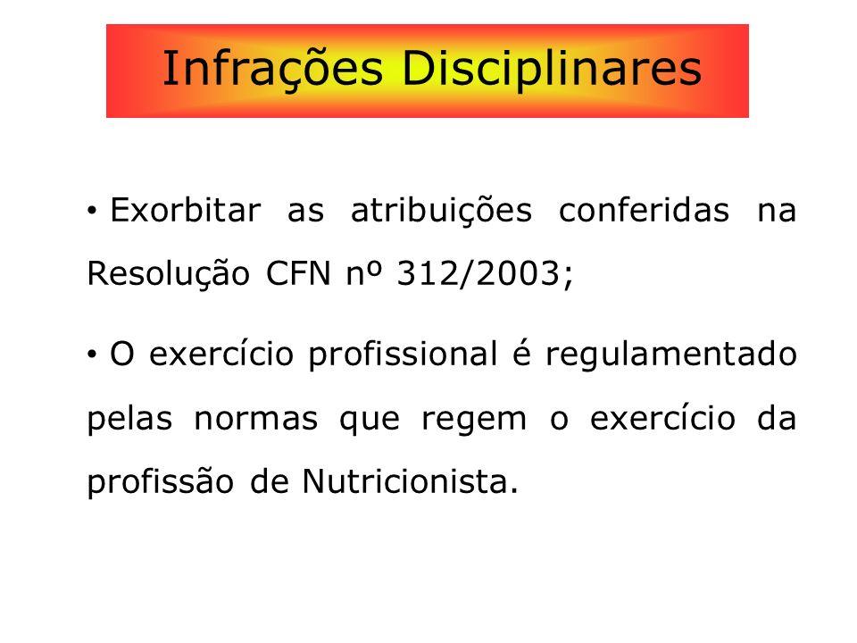 Exorbitar as atribuições conferidas na Resolução CFN nº 312/2003; O exercício profissional é regulamentado pelas normas que regem o exercício da profi