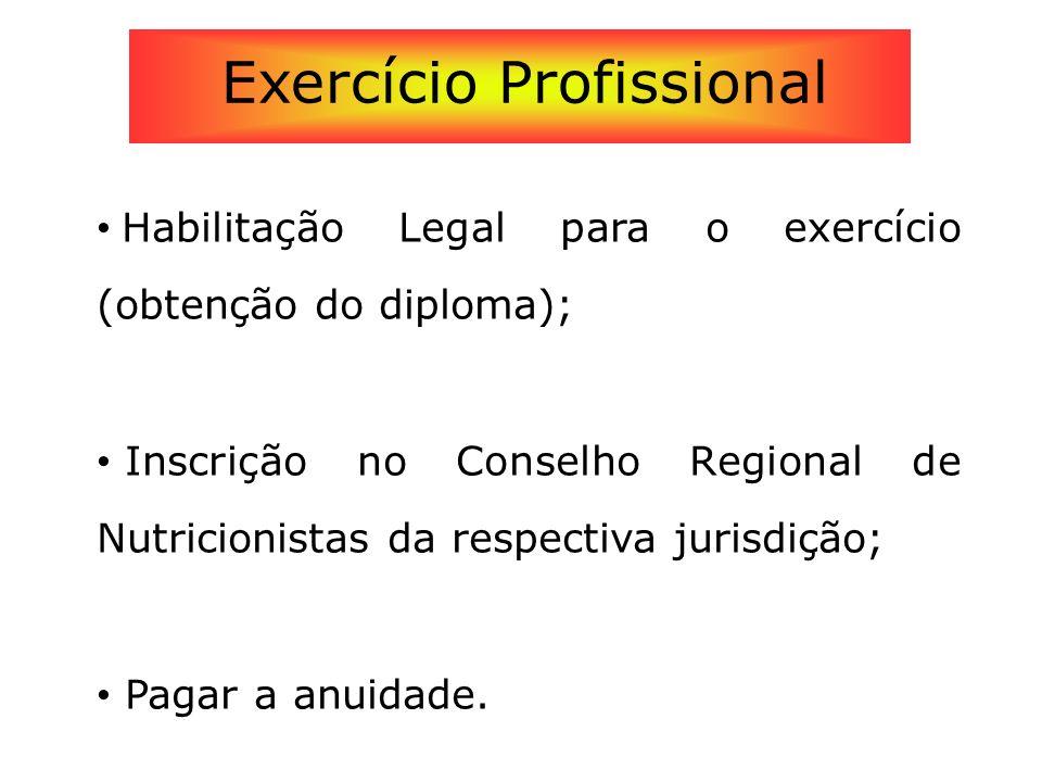 Habilitação Legal para o exercício (obtenção do diploma); Inscrição no Conselho Regional de Nutricionistas da respectiva jurisdição; Pagar a anuidade.