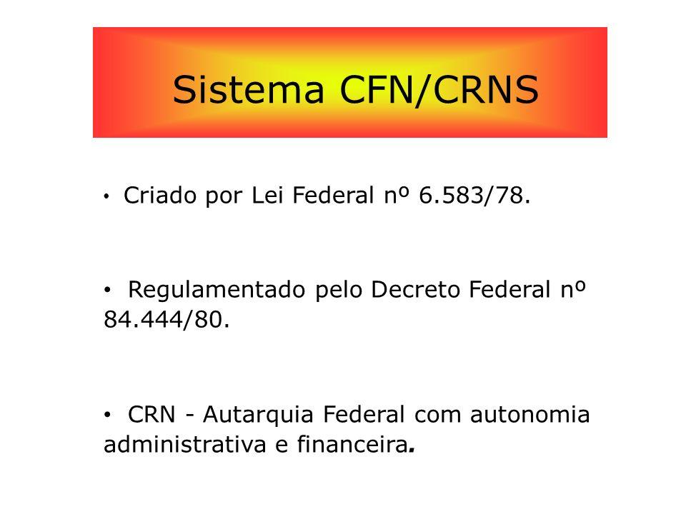 Sistema CFN/CRNS Criado por Lei Federal nº 6.583/78. Regulamentado pelo Decreto Federal nº 84.444/80. CRN - Autarquia Federal com autonomia administra