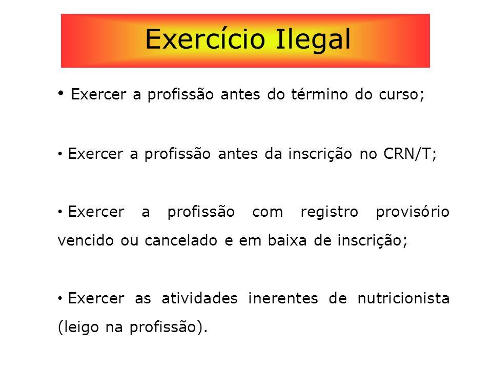 Exercer a profissão antes do término do curso; Exercer a profissão antes da inscrição no CRN/T; Exercer a profissão com registro provisório vencido ou