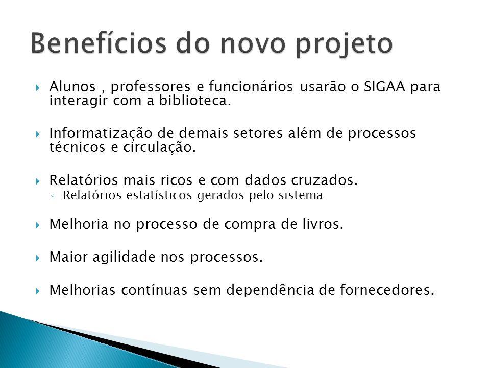 Alunos, professores e funcionários usarão o SIGAA para interagir com a biblioteca. Informatização de demais setores além de processos técnicos e circu