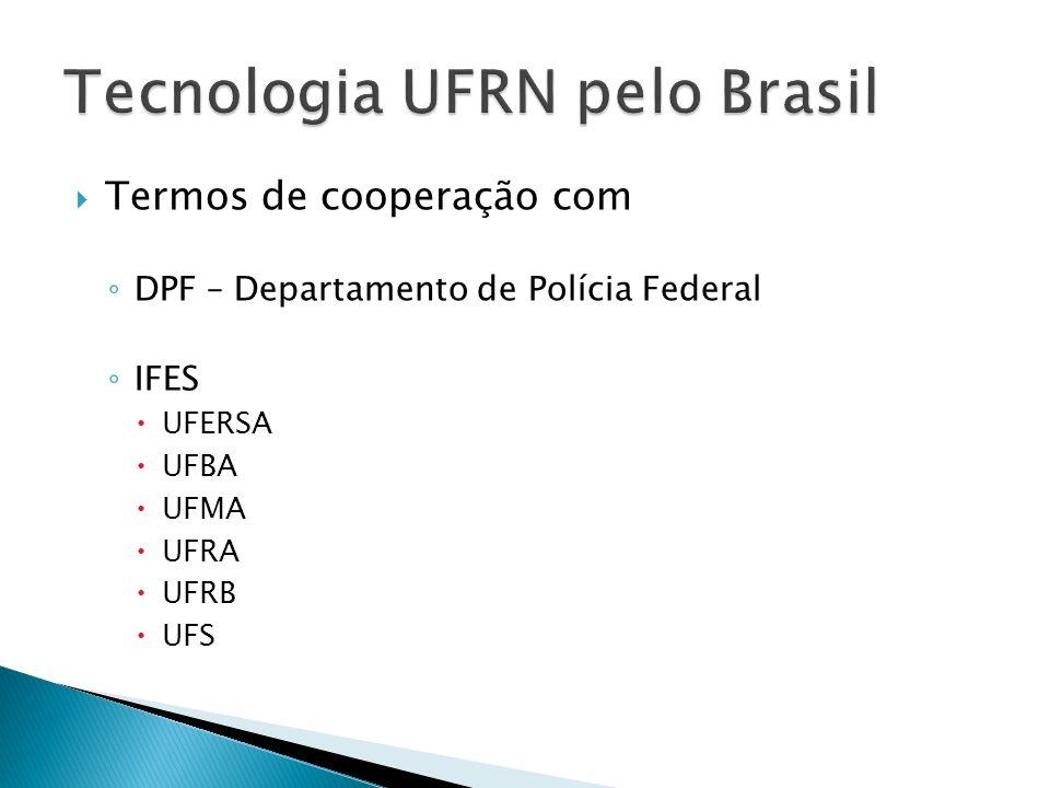 Termos de cooperação com DPF – Departamento de Polícia Federal IFES UFERSA UFBA UFMA UFRA UFRB UFS