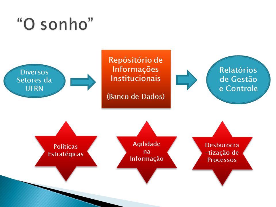 Repósitório de Informações Institucionais (Banco de Dados) Repósitório de Informações Institucionais (Banco de Dados) Diversos Setores da UFRN Relatórios de Gestão e Controle Políticas Estratégicas Agilidade na Informação Desburocra -tização de Processos