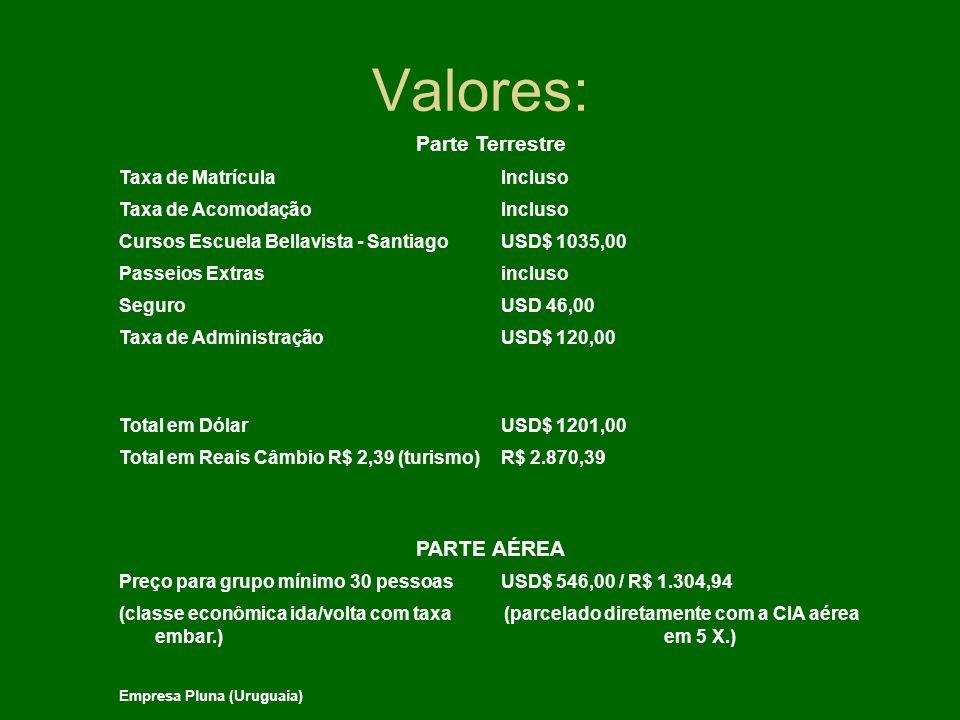 Valores: Parte Terrestre Taxa de MatrículaIncluso Taxa de AcomodaçãoIncluso Cursos Escuela Bellavista - SantiagoUSD$ 1035,00 Passeios Extrasincluso Se