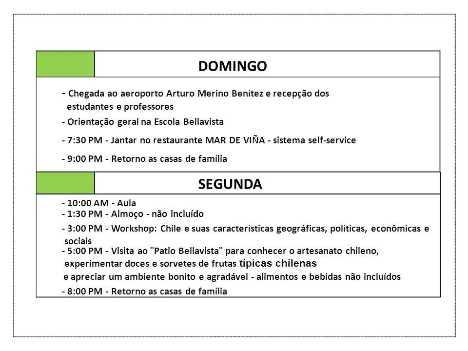 DOMINGO - Chegada ao aeroporto Arturo Merino Benítez e recepção dos estudantes e professores - Orientação geral na Escola Bellavista - 7:30 PM - Janta