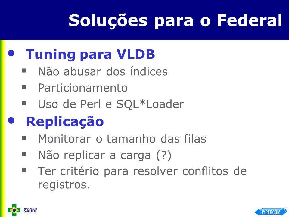 Soluções para o Federal Tuning para VLDB Não abusar dos índices Particionamento Uso de Perl e SQL*Loader Replicação Monitorar o tamanho das filas Não